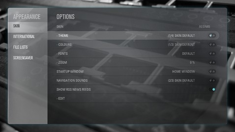 Screenshot of appearance settings