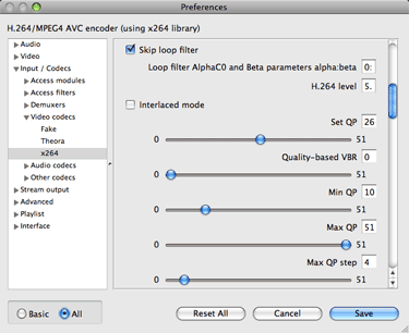 Settings to get better VLC performance on Mac OSX by skipping the loop filter